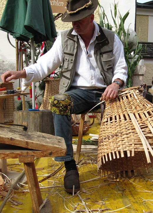 Craft Man Tradition Wicker Basket Basket Weavers